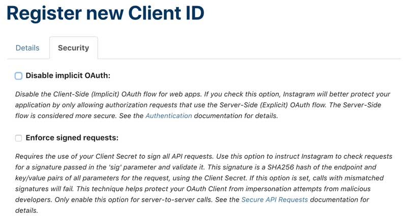 Disable OAuth Demo for Instagram Feed.